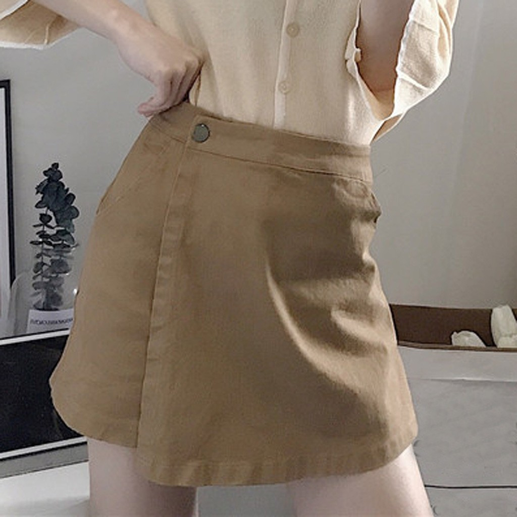 Womail Jeans Fashion Women Summer Leisure Shorts Culottes  Wide Leg High Waist Solid Shorts Summer Shorts Jeans Button Jun 19