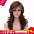 Synthetic Natural Womens full Curly Brown Costume Cosplay Anime Wig Hair Ombre Synthetic Long Layered Wigs