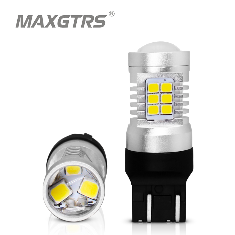 2x 7443 T20 W21/5W Warm White Reverse Stop 2835 21SMD LED Auto Turn Signal Brake Bulb Lamps 12V DC Parking Leds Rear Lights image