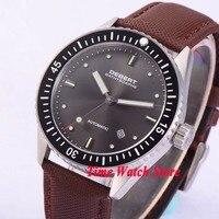 Debert 43 мм черный циферблат Дата Окно Световой керамический Безель сапфировое стекло Miyota 821A Автоматическая Мужские часы DE35B