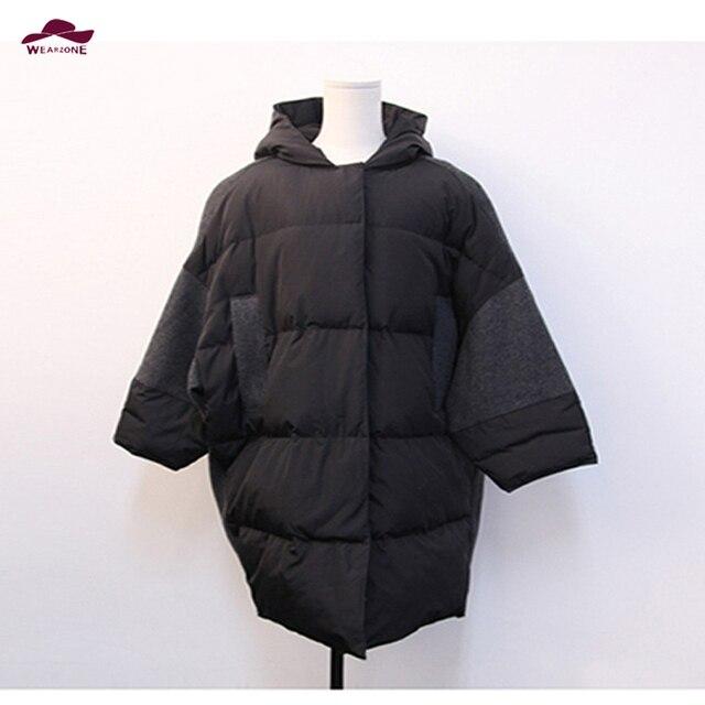 2015 inverno designer de outono das mulheres para baixo casaco preto bolsos Capuz Cinza mavodovama oversize moda casual para baixo casaco outwear manga