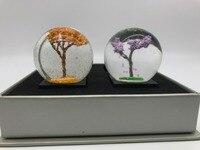 9Pig/4 adet Mini Dört Mevsim Kristal Top Kar Küresi/Bahar Kiraz Çiçekleri + Yaz Mor Çiçek + sonbahar Altın Yaprak + Kış Beyaz