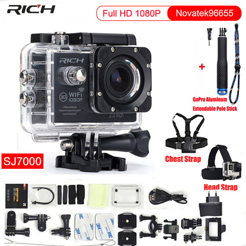 Action Camera Full HD 1080P Wifi Novatek96655 Waterproof 30M Minn Video Camcorder Sport Camera+Chest Strap+Head Strap