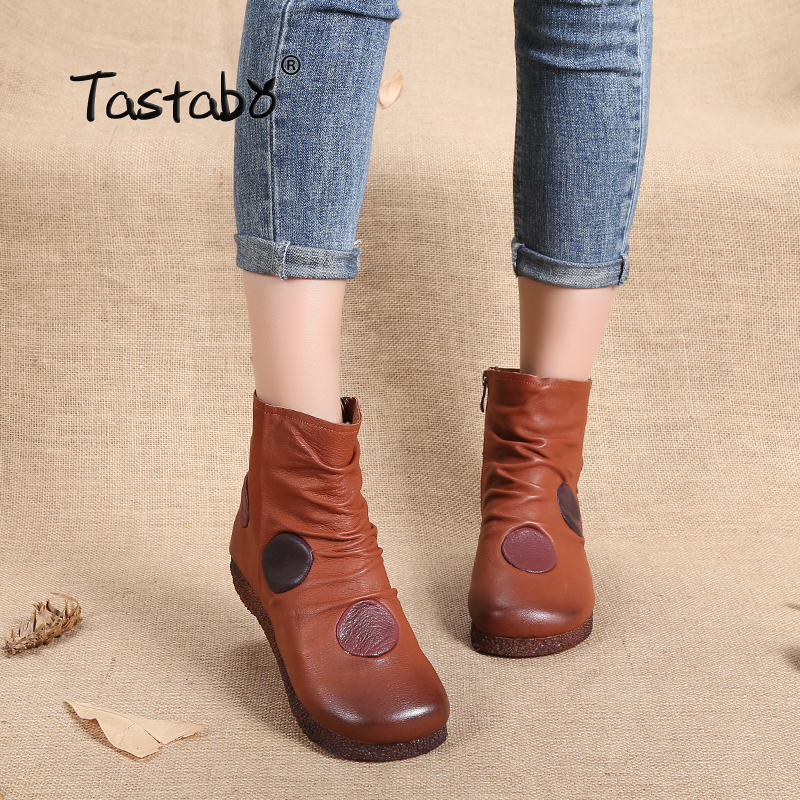 Tastabo Shoes Women Retro Boots Handmade Ankle Boots Flat Boots Genuine Women Shoes Fashion soft leather shoes Martin shoes tastabo 2017 fashion handmade boots for women genuine leather ankle shoes vintage mom women shoes round toes martin boots