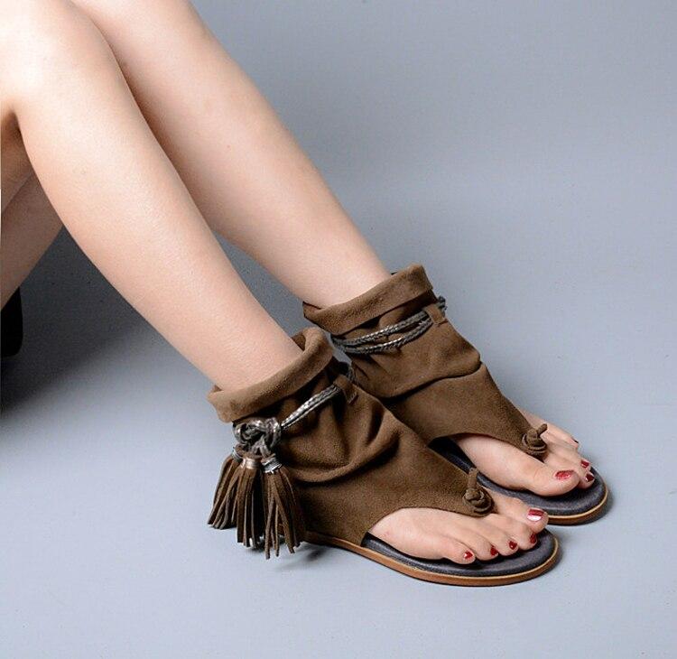 Prova Flecos Zapato Perfetto Señora Sandalia Bohemia Vintage Tobillo Étnico Estilo Marca Botas Verano Tanga Gladiador Plana Borla CtdshrQxB