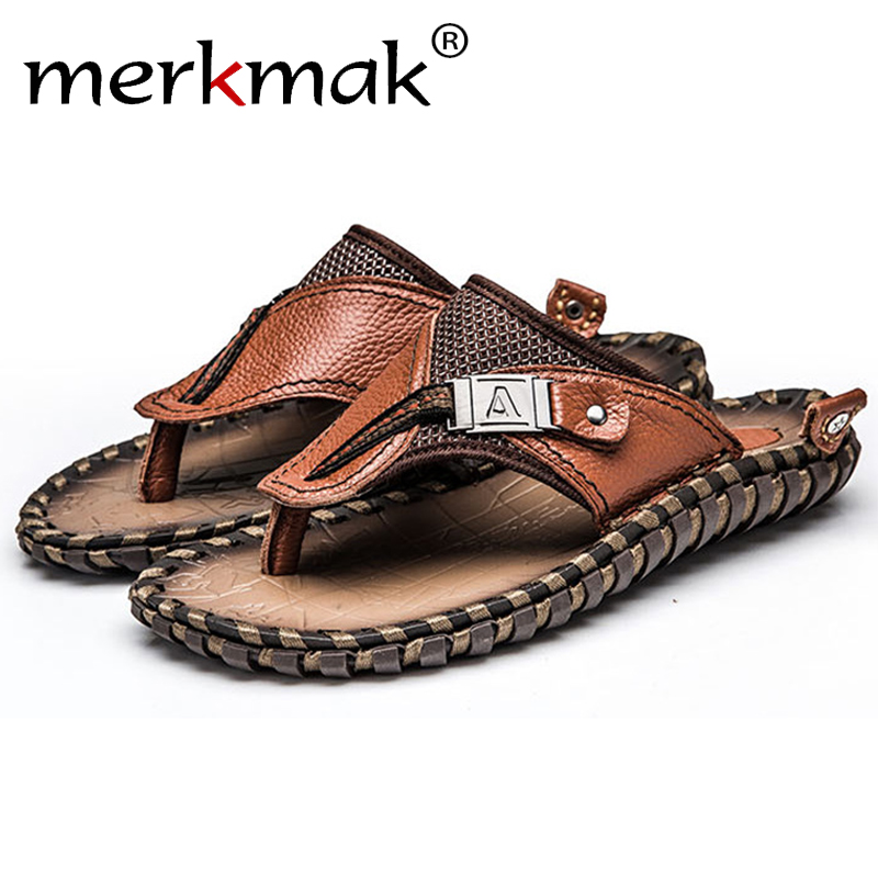 Merkmak Men's Flip Flops Summer Beach Sandals Casual Genuine Leather Men Flats Slip-on Slipper Big Size 38-47 Breathable Shoes