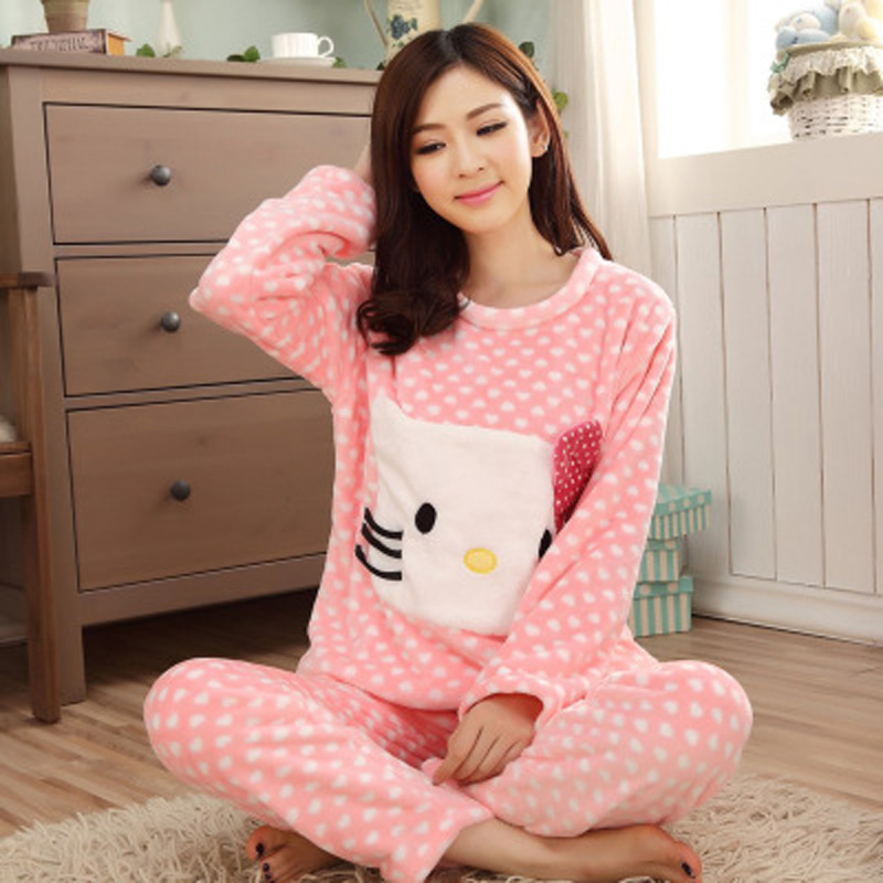Autumn and winter flannel pajamas thickening women flannel pajama sets  sleepwear female girl coral fleece pajamas lovely bear-in Pajama Sets from  Underwear ... 9cdbb73e8