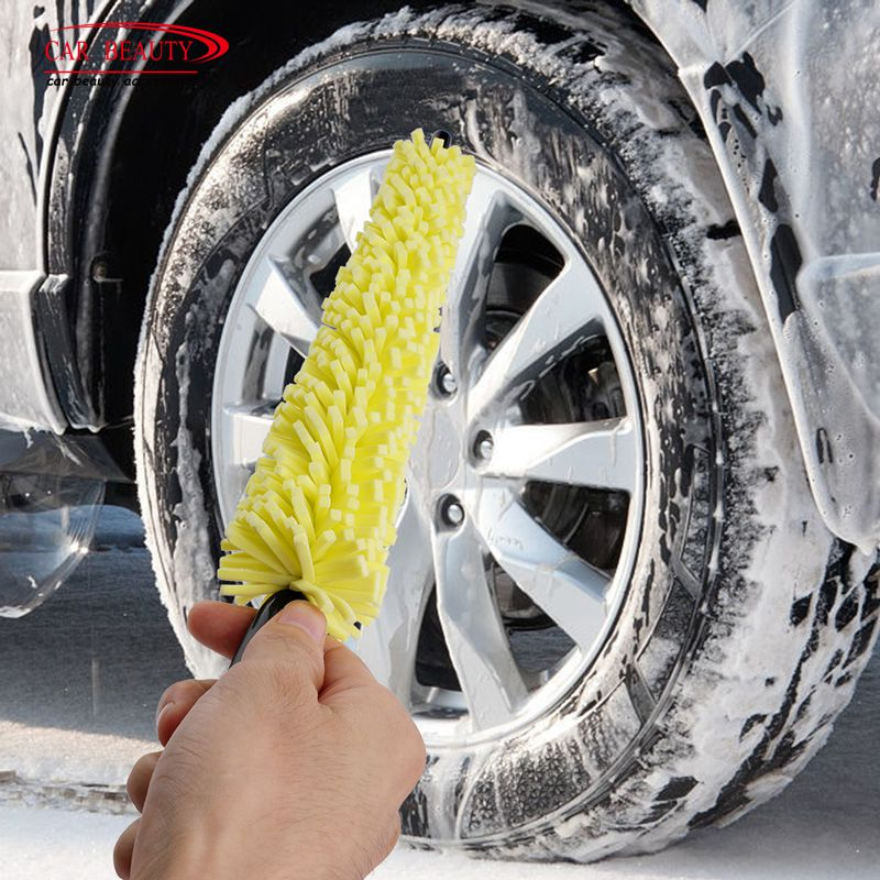 "17/"" Motorcycle Wheel Rim Washing Brush Tire Scrub Cleaning Tool Durable Bristle"