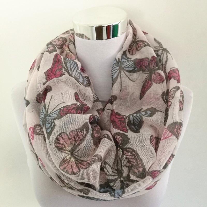 Új divat női pillangó nyomtatás puha hosszú sál pamut sál nyak csomagolva kendő ellopott tavaszi ősszel végtelen sál a nők