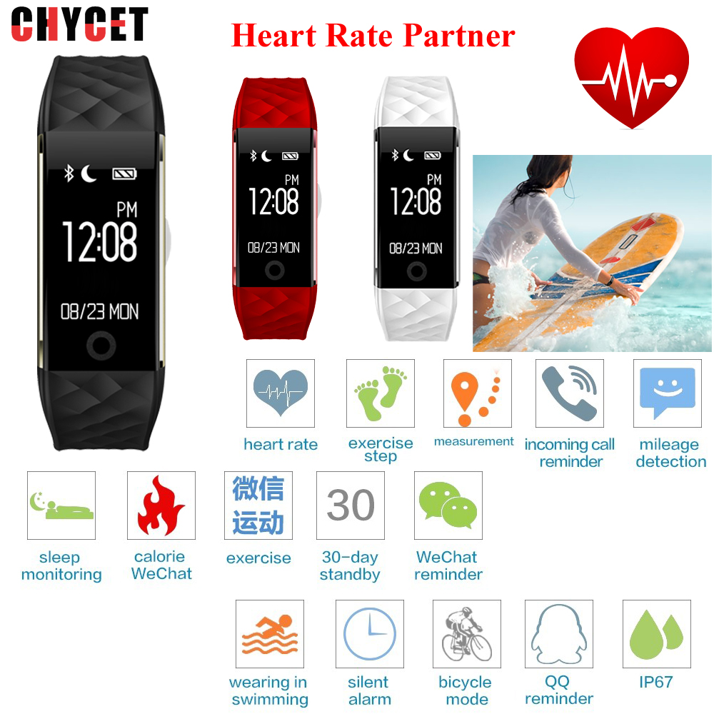 ФОТО Chycet Fashion S2 Bluetooth Smart Band Wristband Heart Rate Monitor IP67 Waterproof Smartband Bracelet For Android IOS Phone