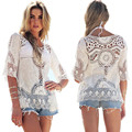 Feitong Summer Women White Blouses Boho Sexy Lace Crochet Hollow Blusa Feminina 2017 Beach Blouses Shirt Tops vetement femme Hot