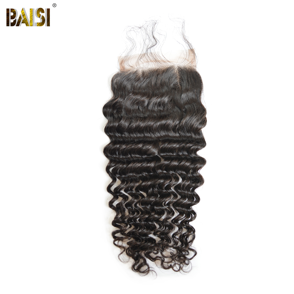 BAISI Brazilian Hair Lace Closure 100 Virgin Hair Deep Wave Free Part Middle Part Closure with