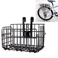 Melhor qualidade dobrável cesta de arame de metal frente saco traseiro pendurado cesta para mountain bike bicicleta dobrável