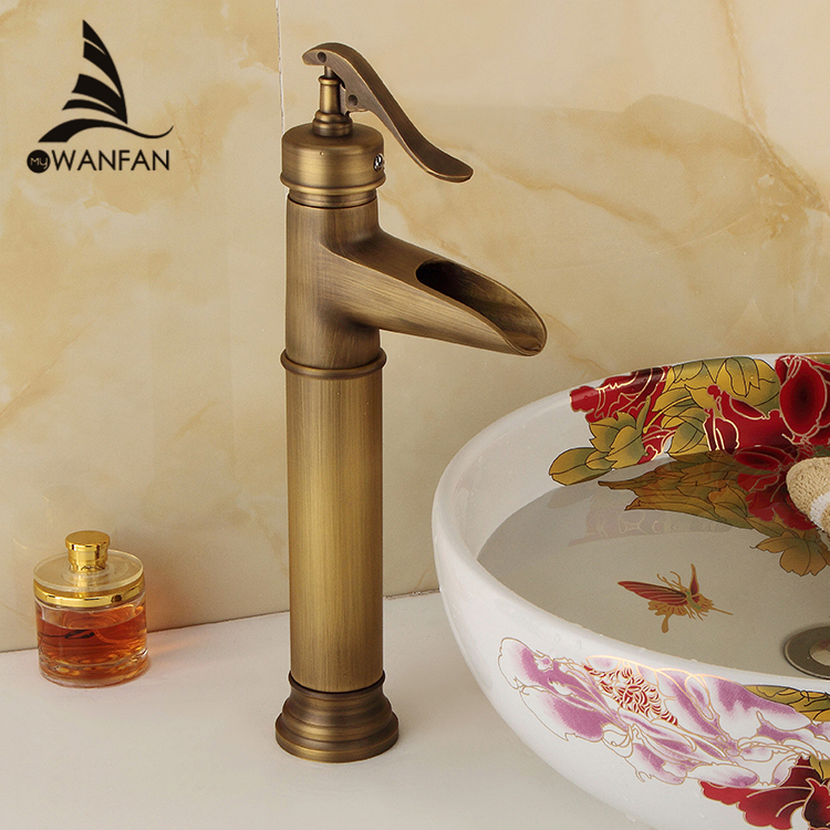 Basin Faucets Antique Brass Waterfall Bathroom vessel Sink Faucet Single Handle Hole Deck Wash Mixer Water