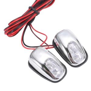 Image 4 - 2 piezas 12 V LED parabrisas de coche boquilla de rociador limpiador de ojos decoración luces de Color blanco para camiones de automóviles