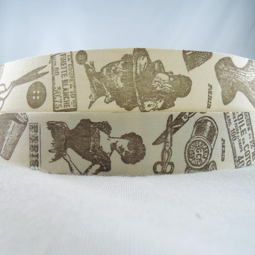 """1 """"25mm Fait à La Main Imprimé Beauté Tête Ciseaux Coton Ruban Ruban Bricolage Artisanat Couture Accessoires Tissu étiquette Coton Ruban Xm-54a"""