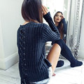 Black Backless Lace Up Woven Women Top Pullover Split Sexy Cross Fall Long Sleeve T shirt Knitted Women Winter Clothes
