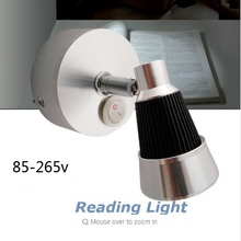 3W 110 220V 12V LED Round Bottom Cool White Warm white Reading Lamp Aluminum Shell Witch Switch Bedside Book Wall Light