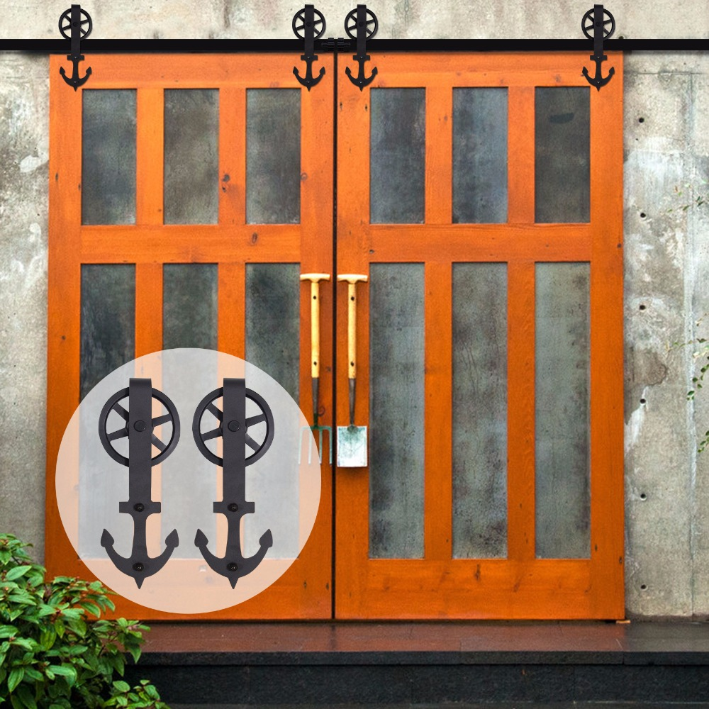 Doors, Gates & Windows Building Supplies Symbol Of The Brand Lwzh 10ft/11ft/12ft/vintage Spoke Big Wheel Sliding Barn Wood Door Hardware Rustic Black Barn Door Sliding Track For Double Door High Safety