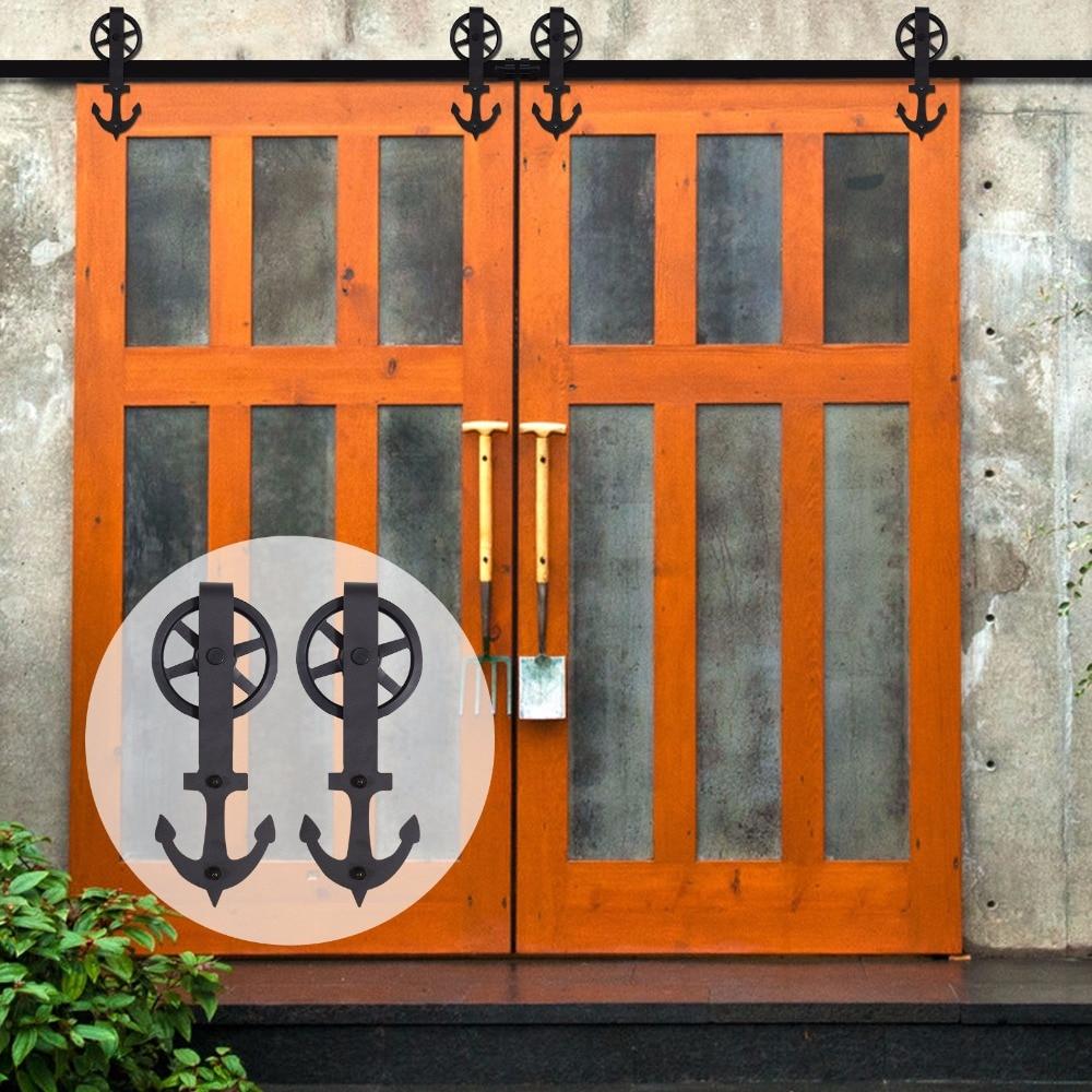 LWZH 10ft/11ft/12ft/Vintage Spoke Big Wheel Sliding Barn Wood Door Hardware Rustic Black Barn Door Sliding Track For Double Door