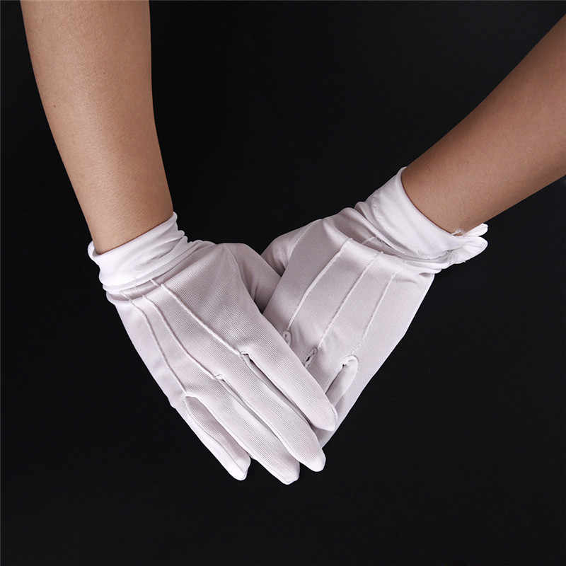 1Pair White Cotton Gloves Formal Work Uniform Catering uniforms Magician Parades Inspection Five-fingers work gloves