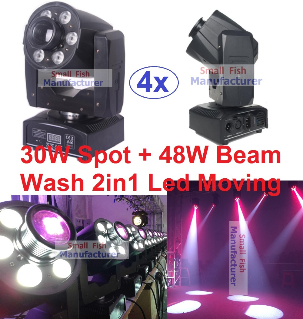 4XLot Hot 2016 Mini Led Moving Head Light 30W White Spot Gobo + 48W RGBW Beam Wash DJ Disco DMX Strobe Projector Party Equipment niugul mini 10w rgbw 4in1 led moving head dmx512 light led beam spot lighting show disco dj laser light christmas party lights