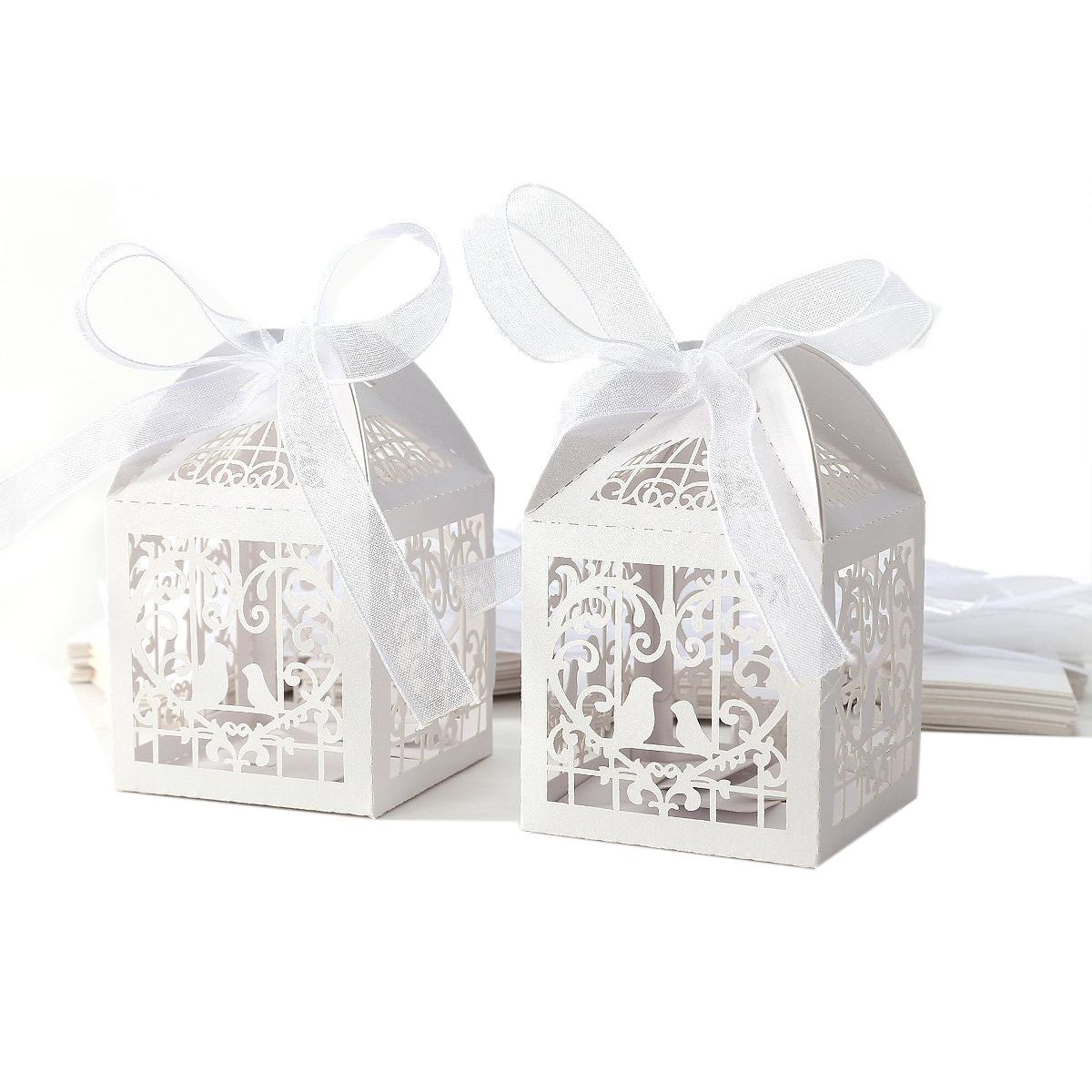 UESH 25pcs Box dragees Candy Heart White Birds for Wedding