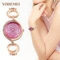 Marcas Rhinestone Reloj Pulsera de Mujeres Relojes de Oro Rosa Reloj de Cuarzo Reloj de Señora Horas relogio feminino reloj mujer montre femme