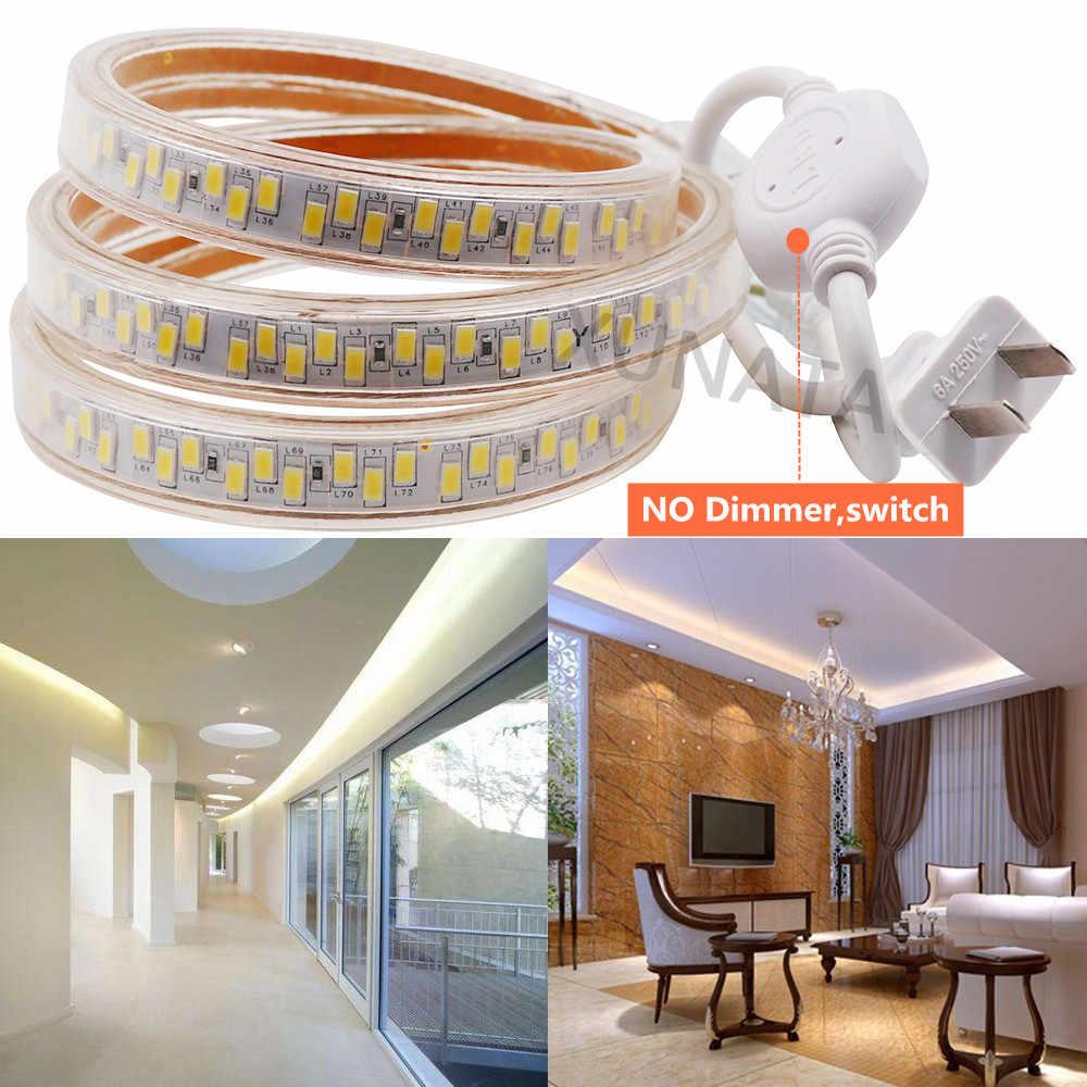 SMD 5630 Светодиодные полосы света Водонепроницаемый 180 светодиодный s/m Двухрядные кухонные уличные наземные светодиодные лампа освещения с регулируемой яркостью 110 V 220 V