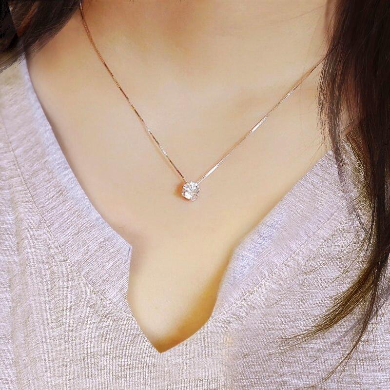 Лидер продаж 2017 года продать 925 чистого серебра одной цепи женские модные элегантные прозрачные циркон ожерелье Изысканный Серебряная цепочка Перевозка груза падения