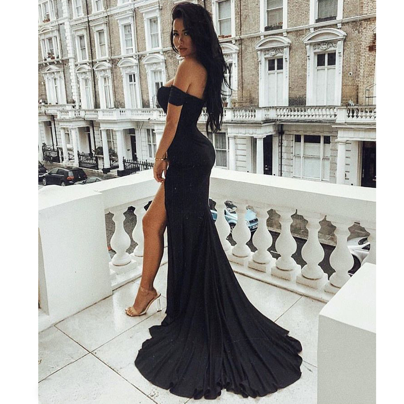 Sexy Black Red Off Shoulder Bridesmaid Dress Tight Packet Hips Slash Neck High Split Wedding Dress Backless Zipper Stretch Dress