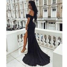 Sexy Black Red Off Shoulder Bridesmaid Dress Tight Packet Hi