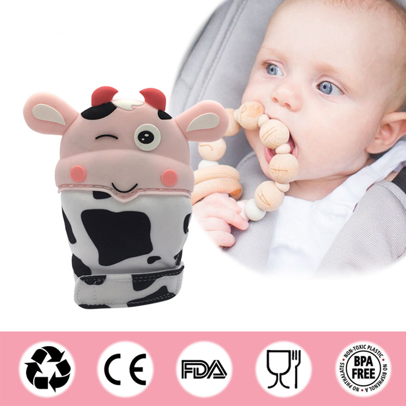 Baby Silicone Mitts Teething Mitten Cow Shape Glove Newborn Sound Teether Chewable Nursing Teether Natural Stop Sucking Thumb