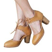 SAGACE, zapatos de tacón grueso para mujer, zapatos de tacón alto Encaje Vintage romano, zapatos de mujer para primavera y otoño, zapatos de tacón cuadrado, zapatos de tacón