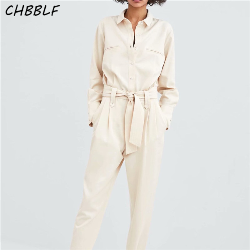 3e8fcc66cf8 CHBBLF women retro solid jumpsuits bow tie sashes pocket long sleeve rompers  ladies long playsuit WEW5164