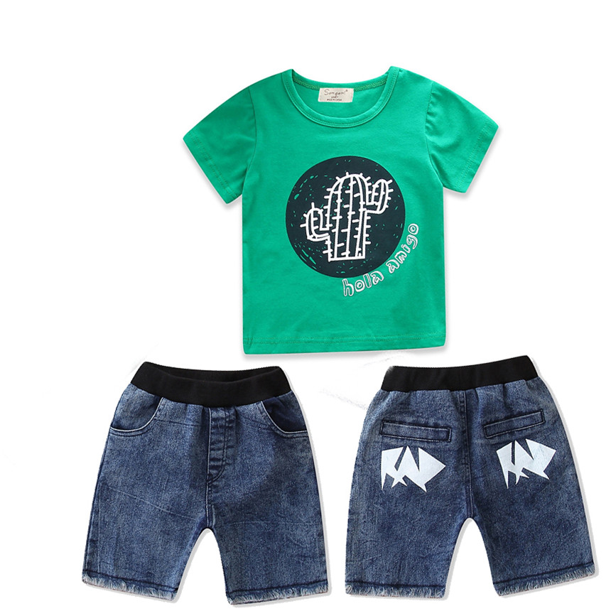Baby Boy Clothes Green Cotton T-shirt Denim Shorts 2pcs Boys Clothing Set Summer Kids Clothes Children Daily Outfit Size 1-5Y