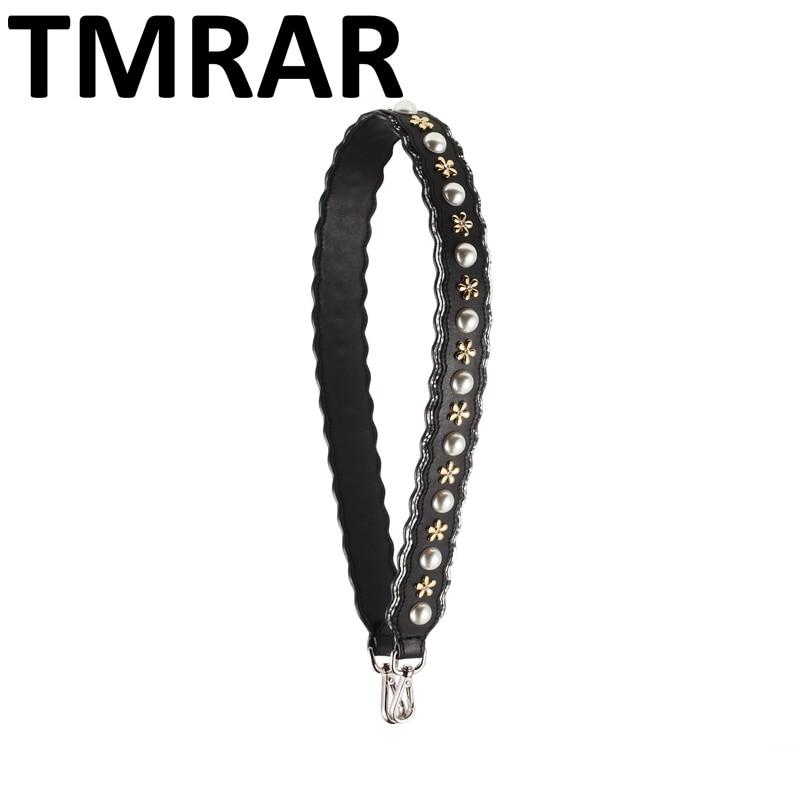 New 2018 Split leather pearl flowers handbag belt popular trendy design bags strap bag parts bag accessory easy matching qn257