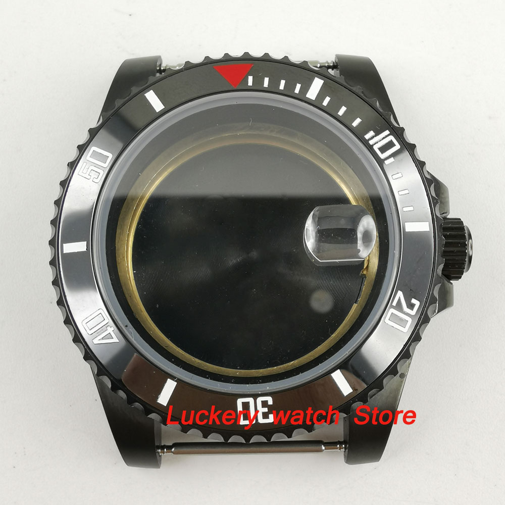 Uhren 41mm Corgeut Schwarz Keramik Einsatz Saphirglas Uhr Fall Fit Eta 2824 2836 Bewegung Schwarz Pvd Beschichtete Ca2010cap Uhrenzubehör Uhr Teile