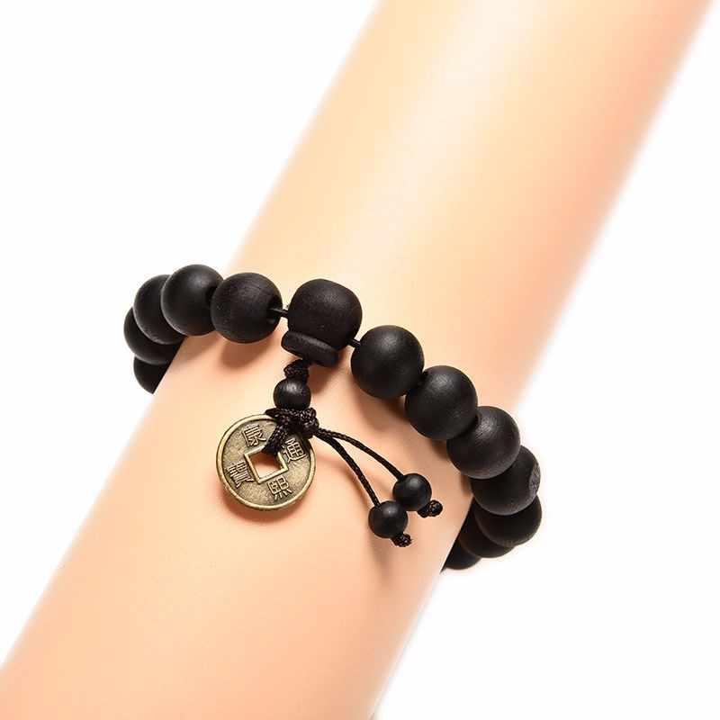 Wood Buddha Beads Religion Charm Buddhist Tibet Buddhist Tibetan Decor Prayer beads Bracelet Bangle Wrist Samll Ornament Men #D2