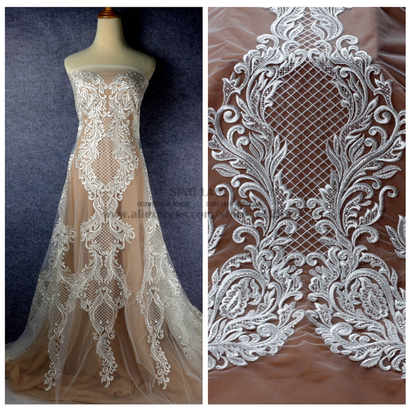 1 yard Hight quality Hot bridal gown lace fabric off white rayon clear sequins on net