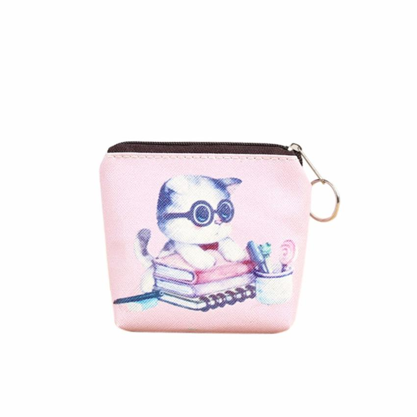 2017 Hot Sale Cute Cat Women Girl Leather Zip Coin Purse Key Card Bag Lady Wallet bolsa feminina Dropshipping