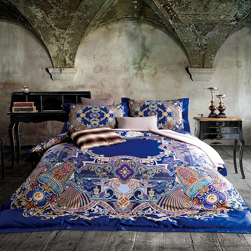Bohemia Bedding Set Egyptian cotton Bed Sheets Duvet Cover Flat Bedspread Sets Home Textile adults Bedroom Bed Set Juegos