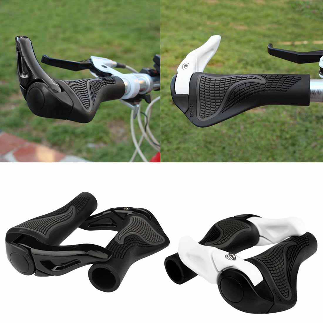 Hot Bike Components Bar Ends Handlebars Rubber Grips Bicycle Aluminum Barend Handle Bar Ergonomic Push On Soft Grips