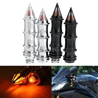 7 8 Motorcycle Spiked Skeleton Hand Grips Turn Signal Bar Ends Motorbike Pitbike Scooter Billet Grips