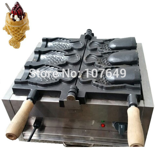 Free Shipping to USA/Canada/Japan/Mexico Commercial Use 110v Electric Big 3pcs Ice Cream Taiyaki Fish Waffle Maker Machine Baker donut making frying machine with electric motor free shipping to us canada europe