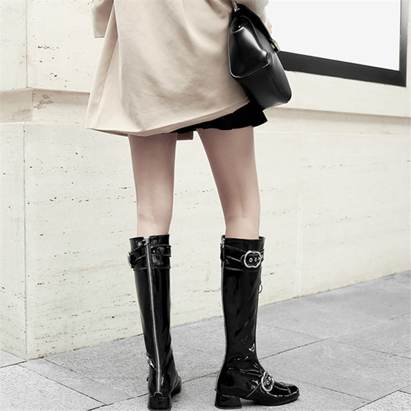 plus size 34 43 High Quality Genuine Leather Knee High Boots Women Patent Leather Long Boots Shoes Zip Buckle Knee High Boots in Knee High Boots from Shoes