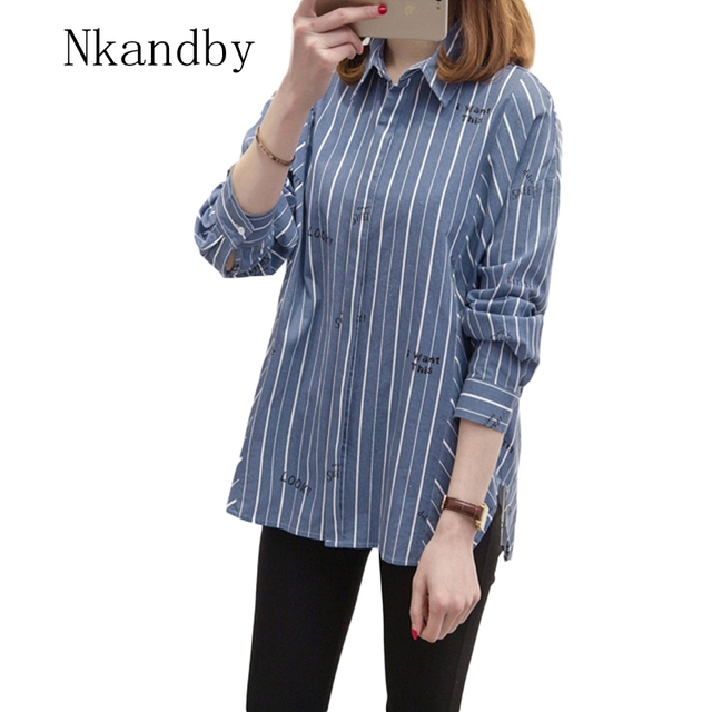 b0a73397ea Nkandby Women Plus size Tops 2019 Spring Korean Casual Loose Long sleeve  Striped BF Style Large Shirts Ladies Big Blouses