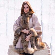 Накидка BFFUR женская из шерсти, роскошная шерстяная шаль с воротником из натурального меха енота, модная облегающая зимняя накидка, 2020