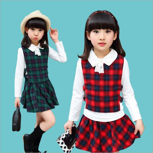 New Spring Autumn Girl Clothing Set Cute Sports Wear Plaid Print School Girls Suits Children Clothes Casual Suit 3 Piece 2014 spring autumn new fashion girls sports suits zipper coat trousers flowers print big girl clothes sets children sportswear