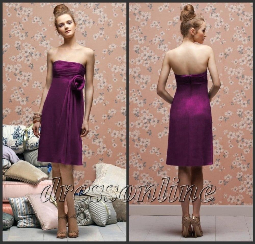 5876 custom made polular strapless royal blue purple for Purple dresses for weddings knee length